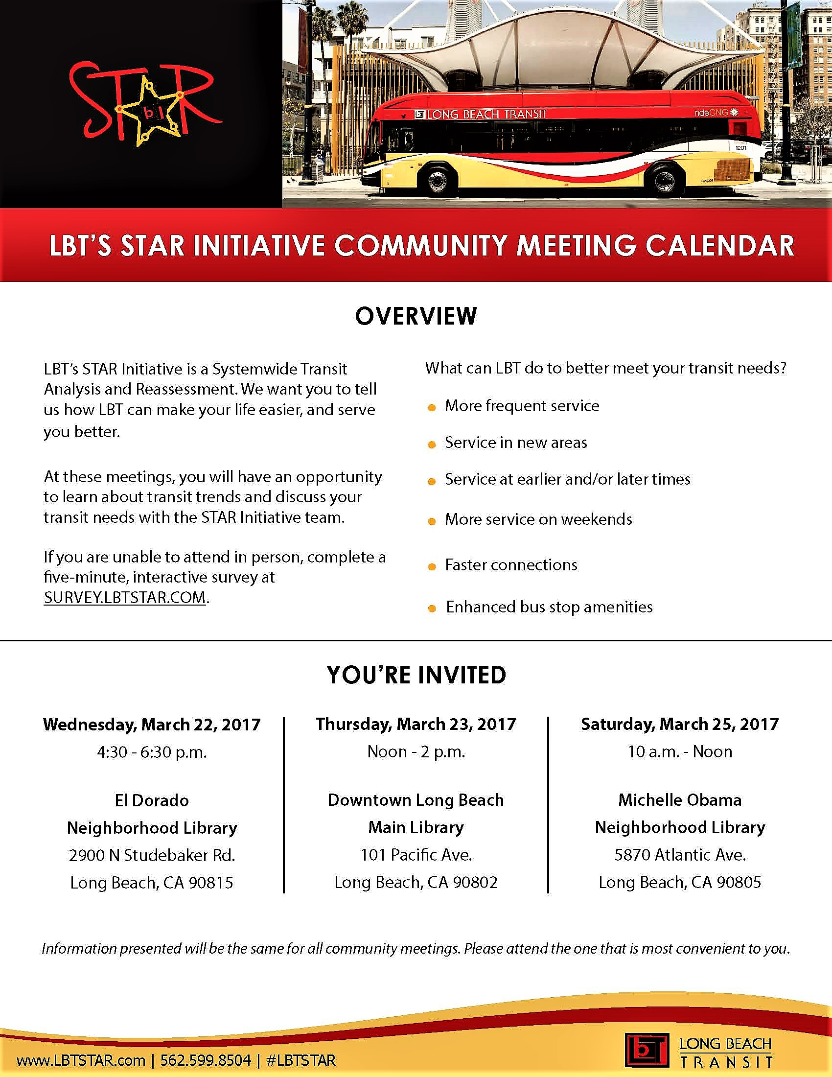 LBT'S INITIATIVE COMMUNITY MEETING CALENDAR