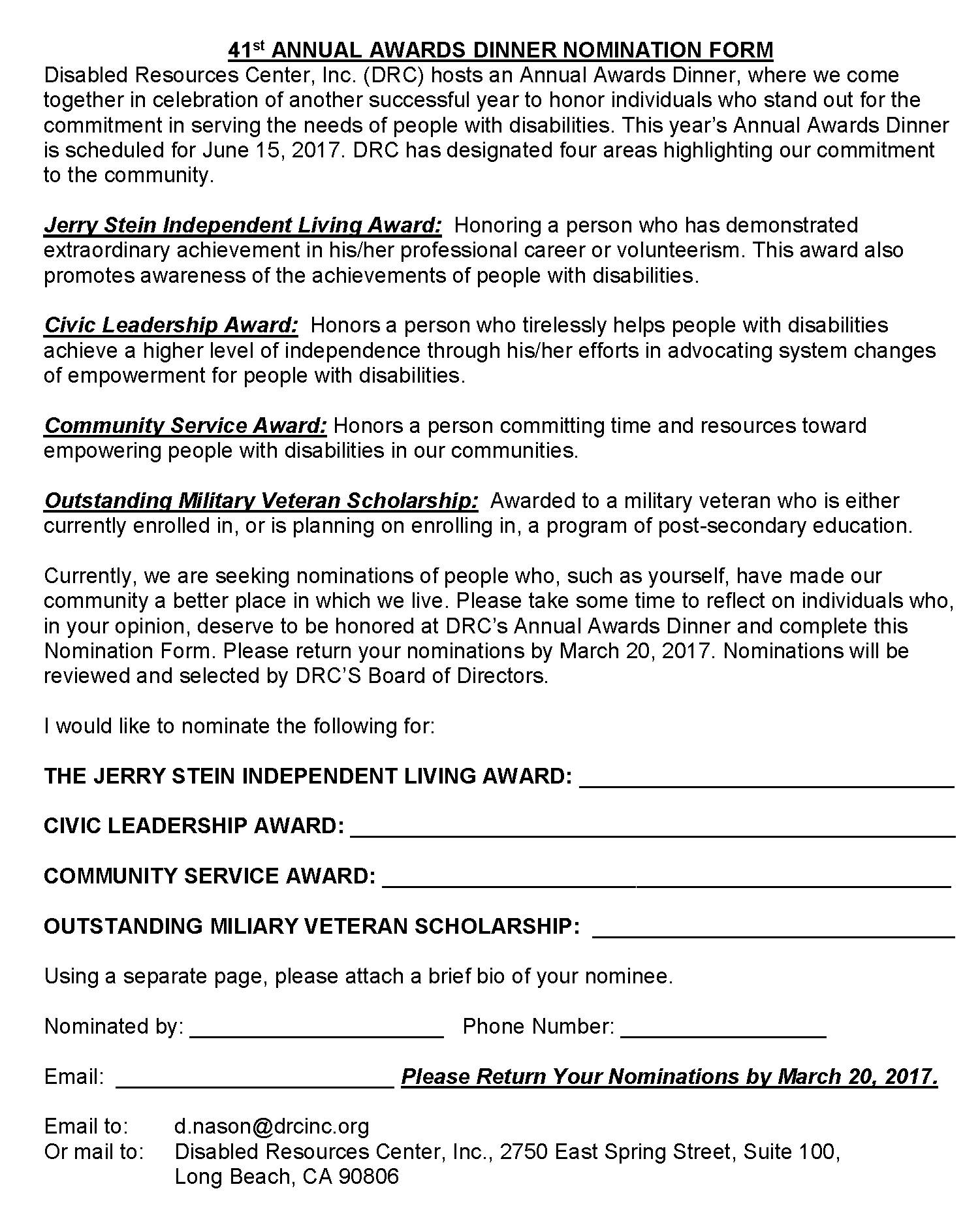 Annual Awards Dinner Nomination Form 2017